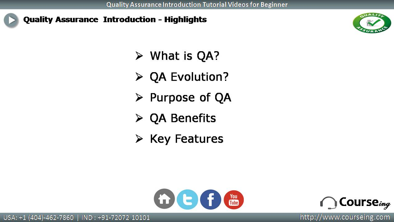 Free QA introduction Highlights
