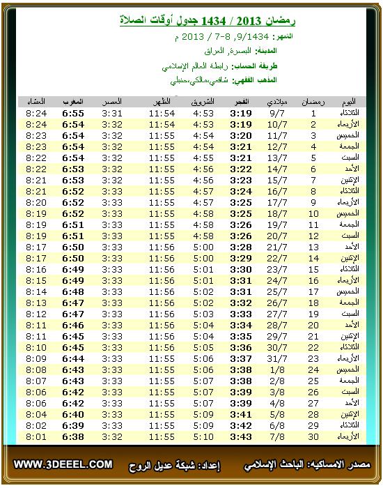 امساكية رمضان 2013 – 1434 | العراق البصرة - امساكية شهر رمضان جميع الدول العربية 2013