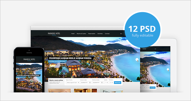 Free Hotel free website photoshop template