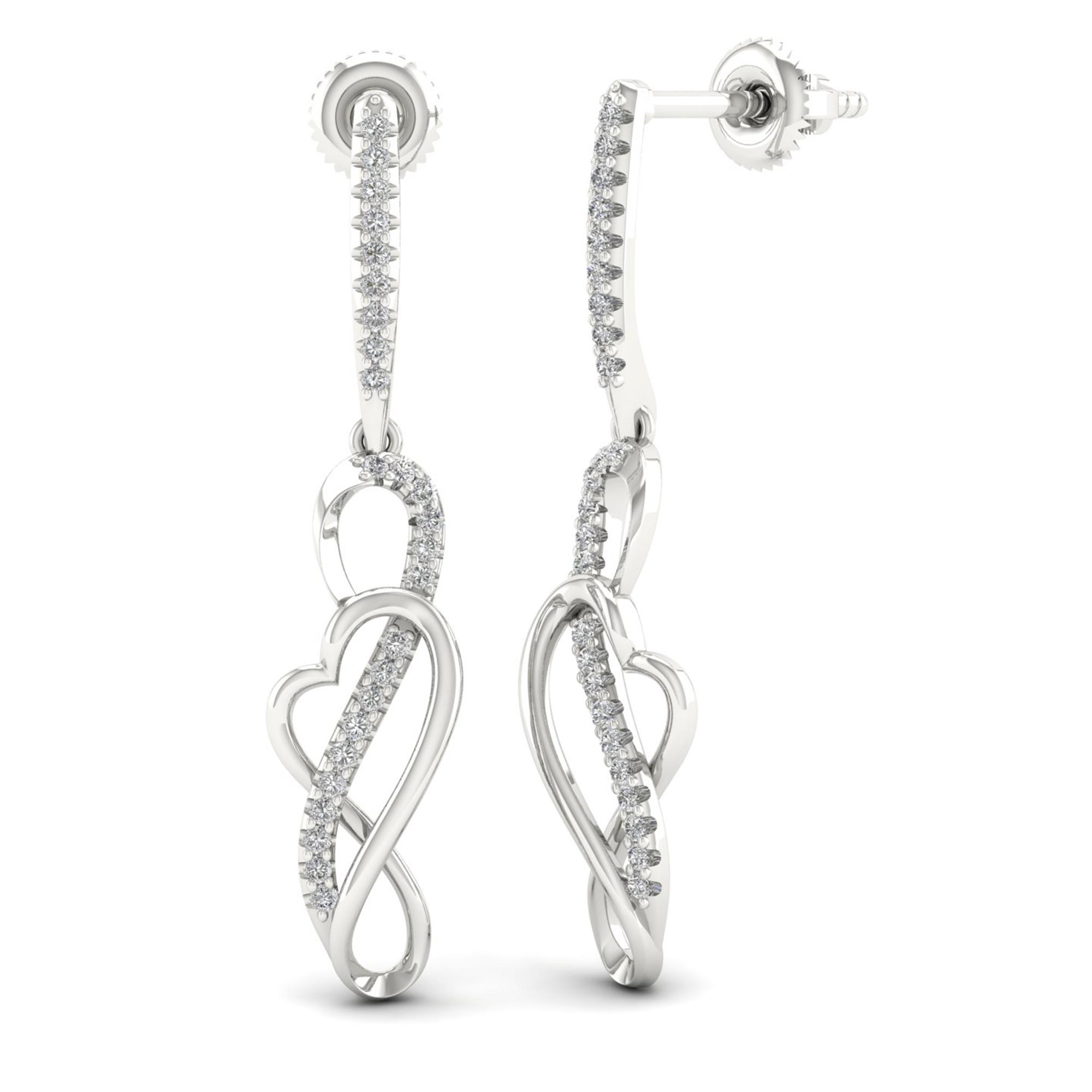 Sterling Silver 0.15ct TW Diamond Dangle Earrings (H-I,