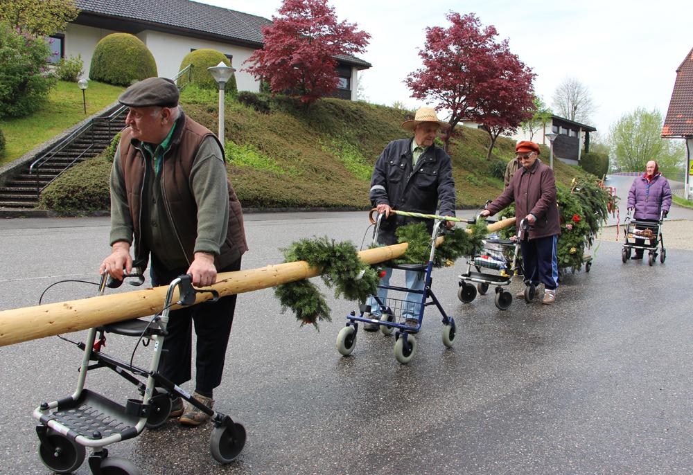 Foto von Bewohnern beim Maibaumstehlen