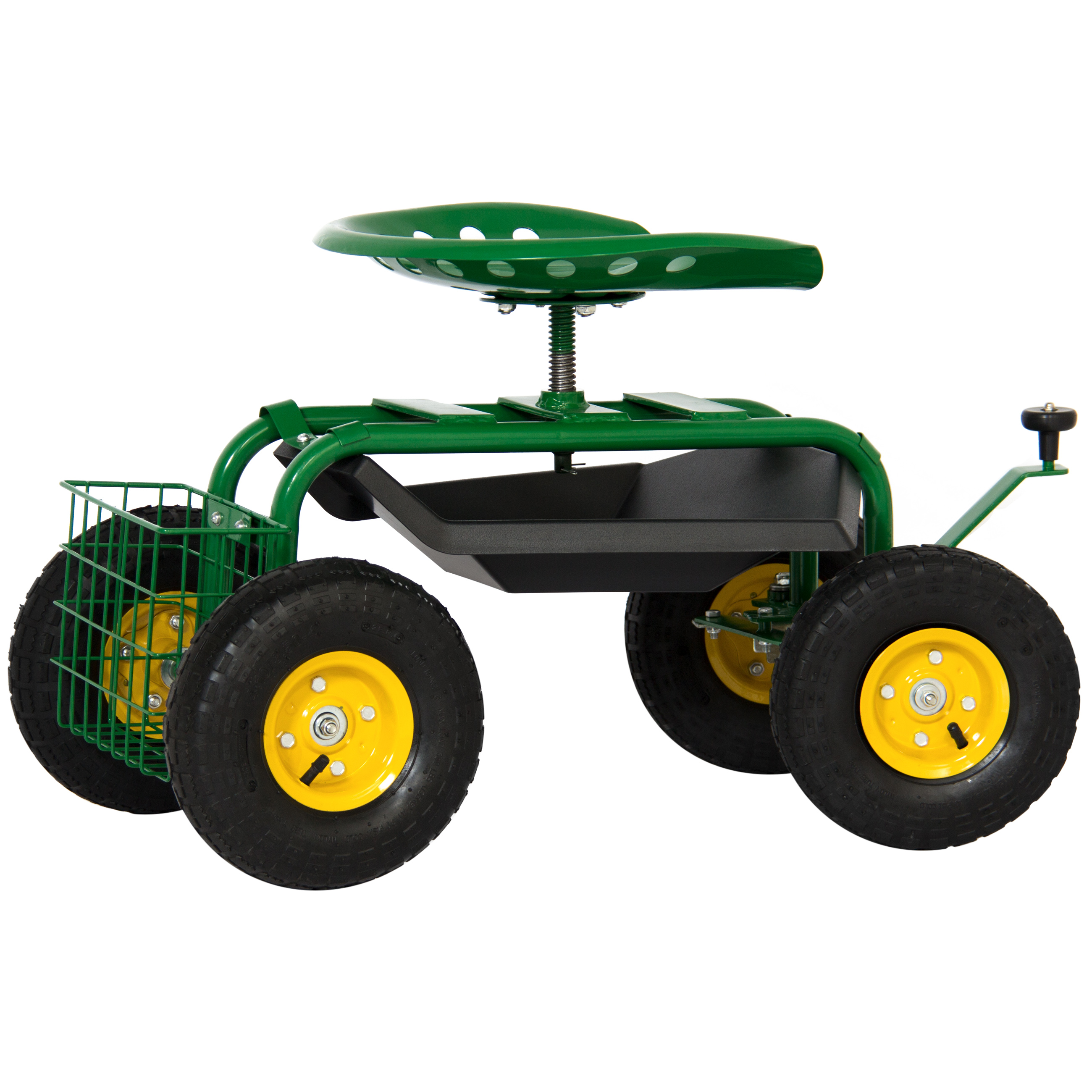 Garden Cart Rolling Work Seat With Tool Tray Heavy Duty