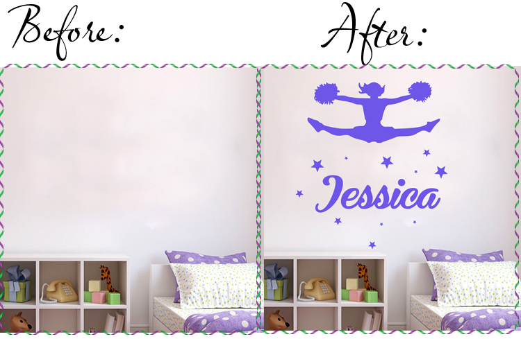 personalised name and cheerleader girl with starts  removable wall sticker