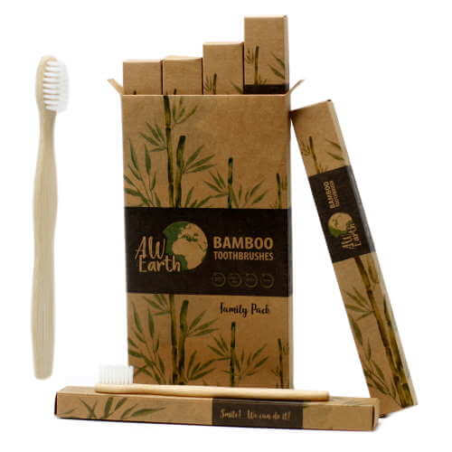 bamboo toothbrush - family pack - 2x Adult and 2x Children
