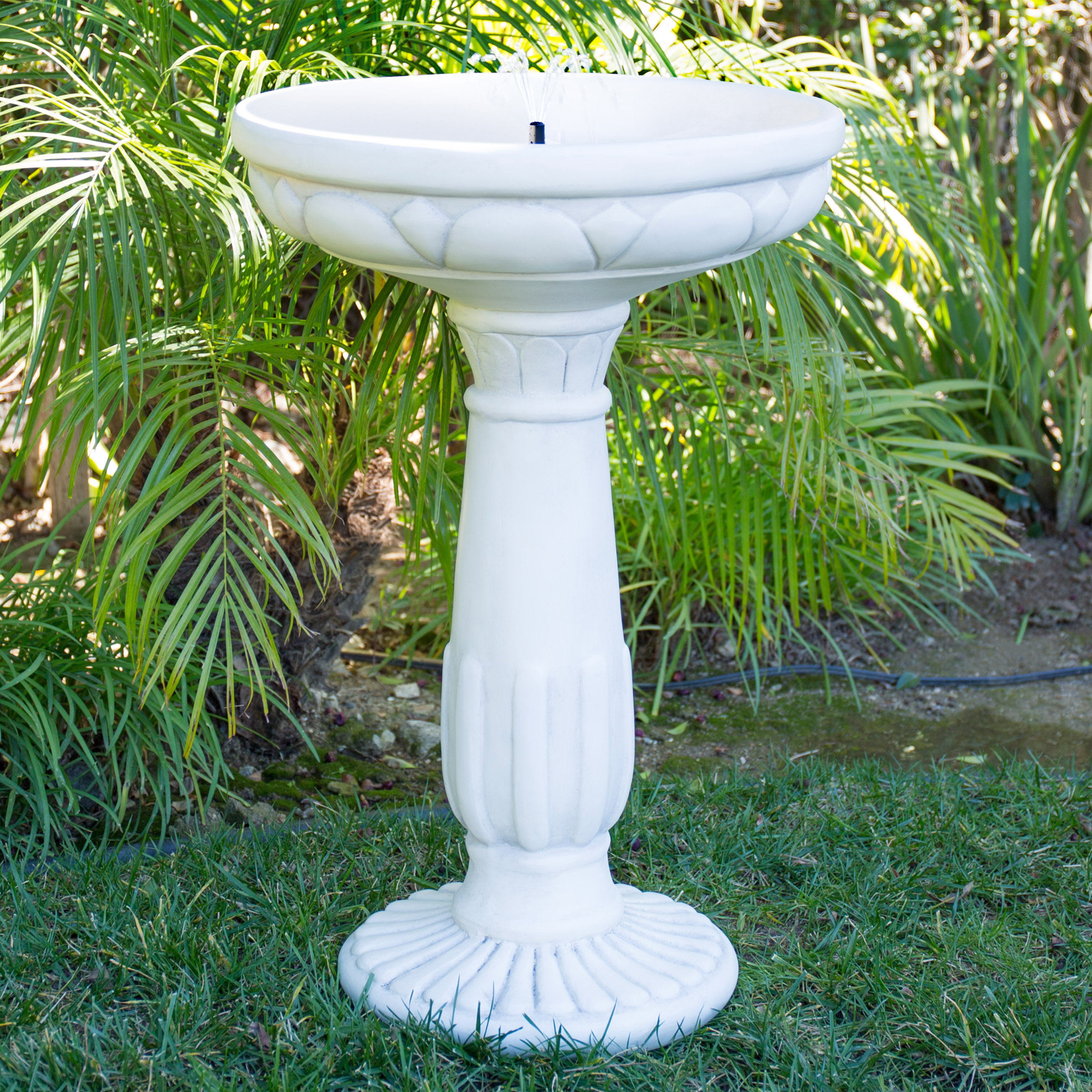 Solar Bird Bath Fountain With Led Lights And Integrated