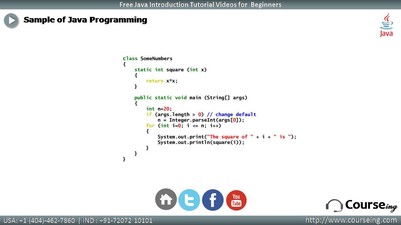 Sample Program of Java
