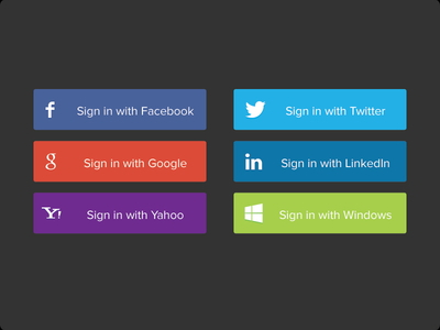 PSD - Social Sign In Buttons