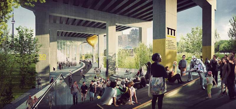 $25-million project reimagines area under Toronto's Gardiner with paths, cultural spaces