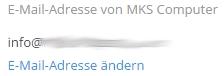 Möglichkeit zur Änderung der Mail-Adresse bei Dropbox.