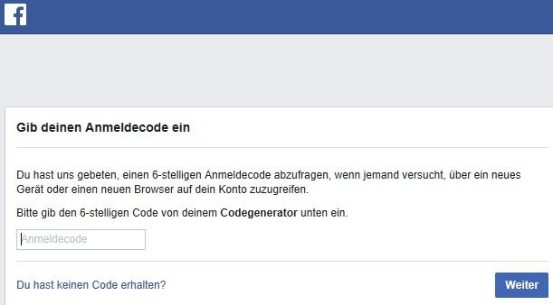 2-Schritt-Bestätigung für die Anmeldung bei Facebook.