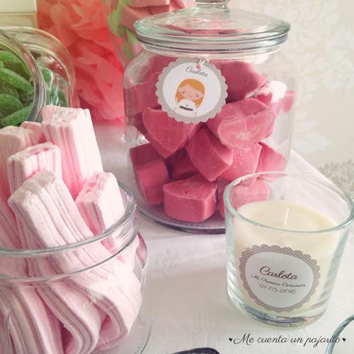 mesa dulce primera comunión pegatinas personalizadas