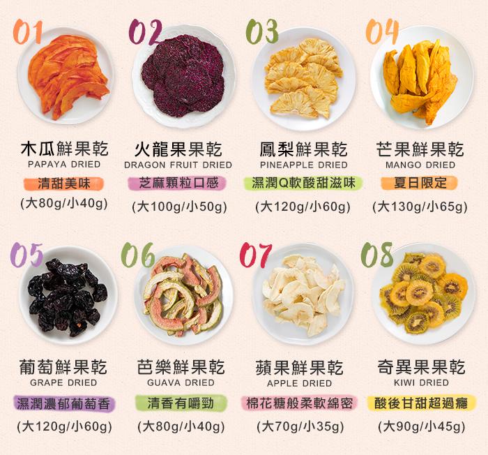 木瓜乾、火龍果乾、鳳梨乾、芒果乾、葡萄乾、芭樂乾、蘋果乾、奇異果乾