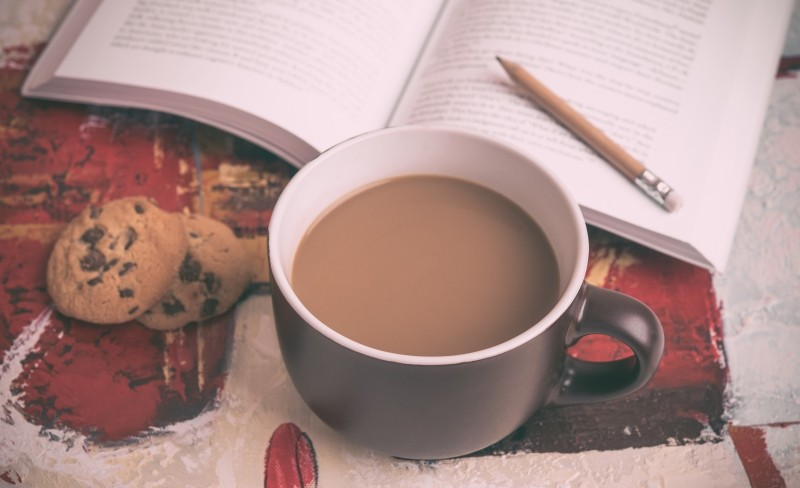 Reading with coffee and cookies