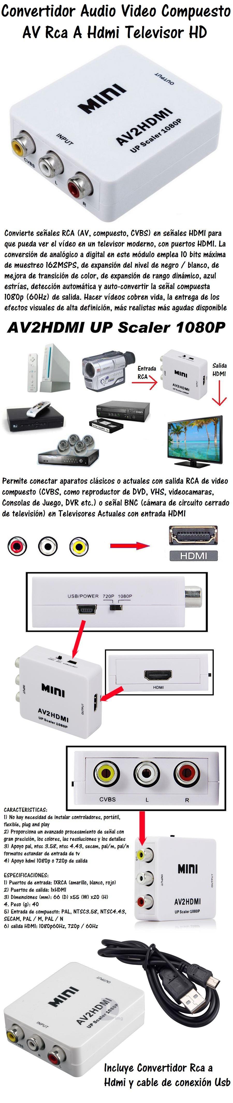 convertidor video rca a hdmi