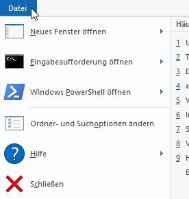 Zusatz-Bereich Datei in der Symbolleiste vom Windows Explorer - mit Optionen für erfahrene Anwender wie z. B. die Eingabeaufforderung
