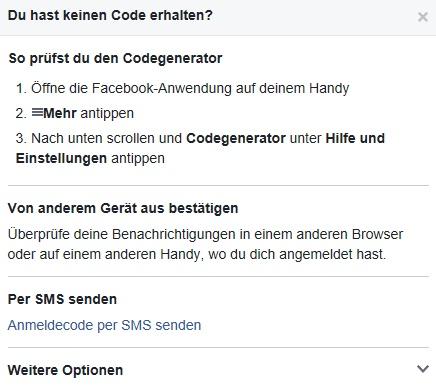 Alternativ zur Bestätigung per App kann man sich bei Facebook eine SMS senden lassen.