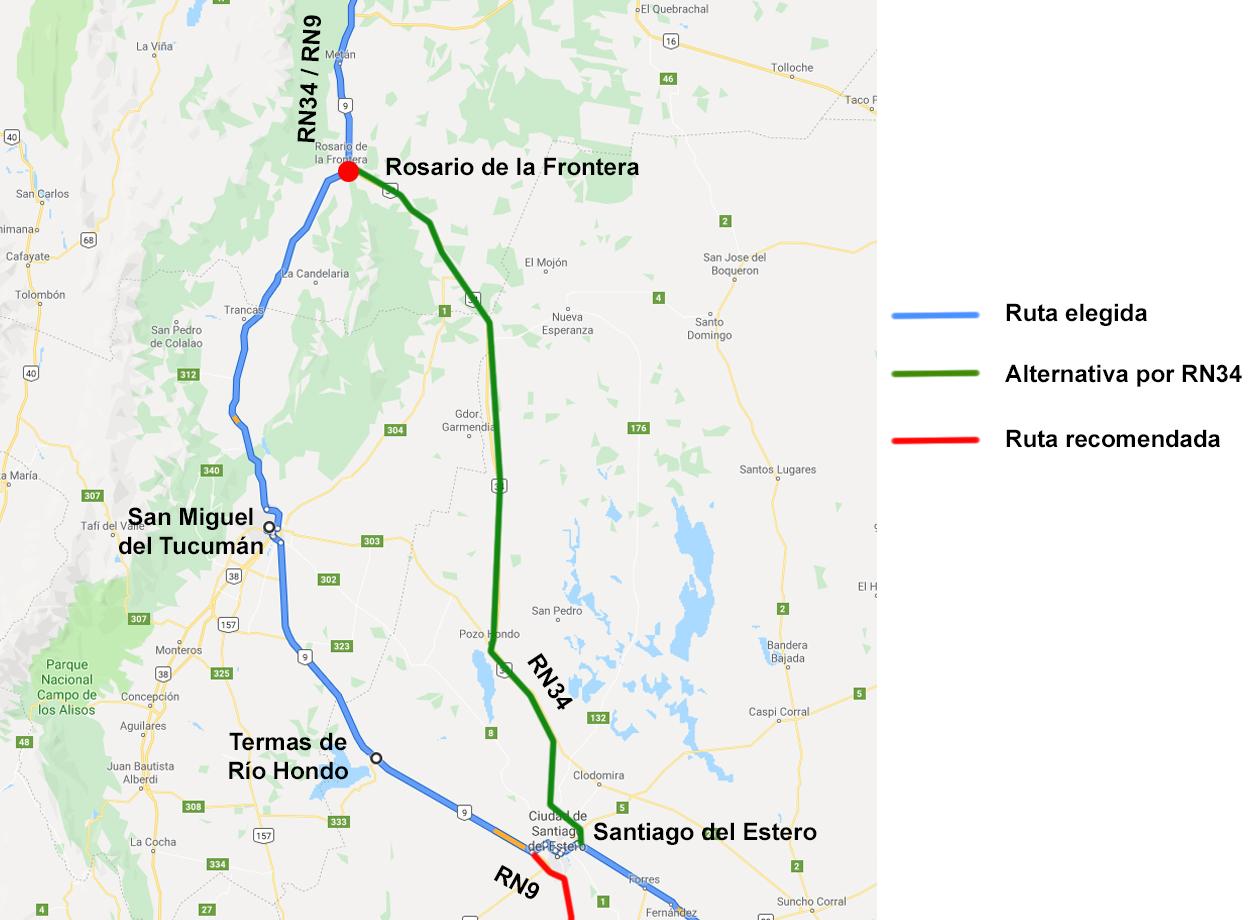 Mapa Santiago del Estero a Salta