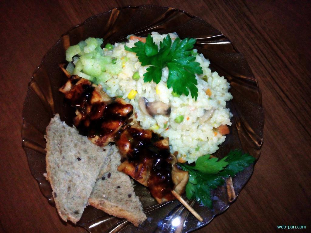 Новое блюдо - овощное ризотто с шашлыками куриными якитори!