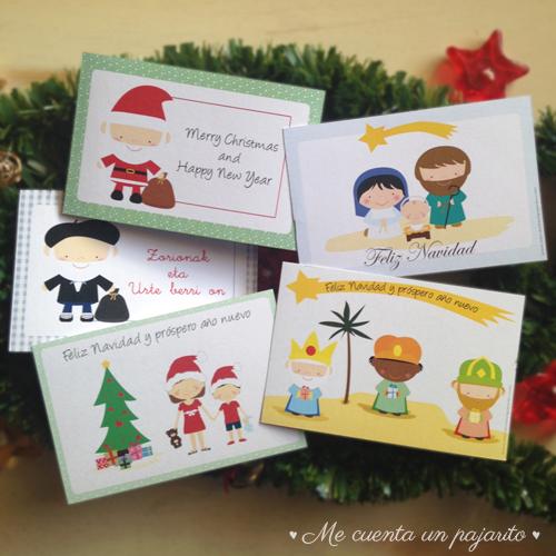 Felicitaciones de Navidad, Postales de Navidad, personalizadas Olentzero, Papá Noel, Reyes Magos, Belén