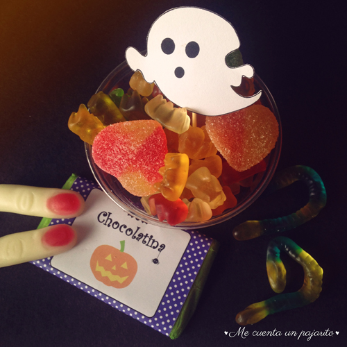 papelería chocolatina party halloween, chuches, fantasma,calabaza