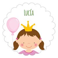 Etiqueta de cumpleaños de la princesa con globo
