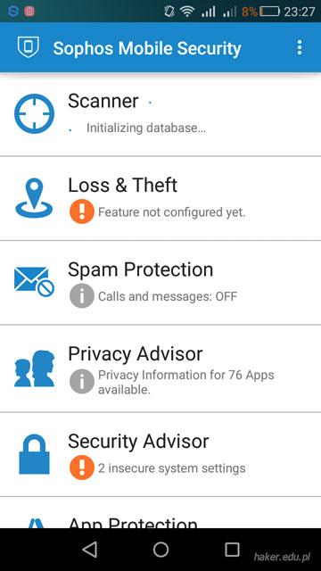 Angielskojęzyczny interfejs oprogramowania antywirusowego Sopgos Mobile Security