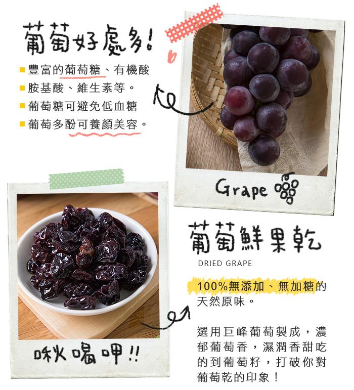葡萄好處多,富含葡萄糖及胺基酸,可避免低血糖、養顏美容。100%無添加的葡萄果乾,選用巨峰葡萄製成,濕潤香甜吃的到葡萄籽。