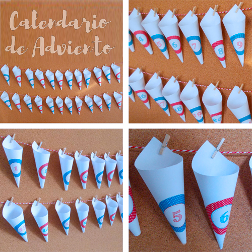 Calendario de adviento, conos de papel y pegatinas con números