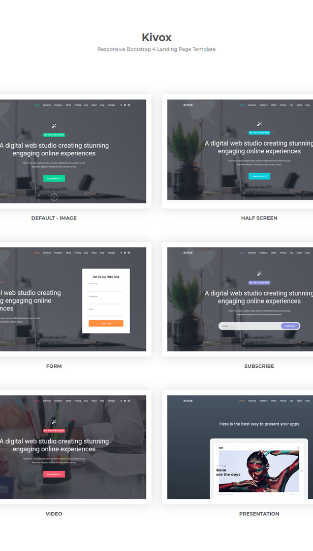Kivox - Responsive Landing Page Template - 1