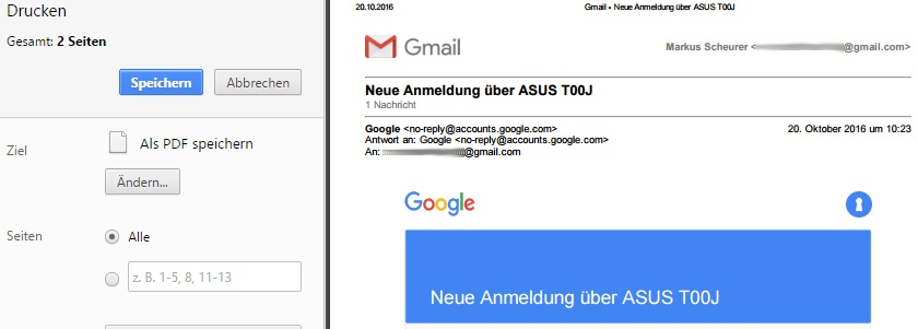 Die Mail kann mit zahlreichen Programmen + Tools, z. B. auch über die PDF-Funktion im Google Chrome, als PDF exportiert werden.