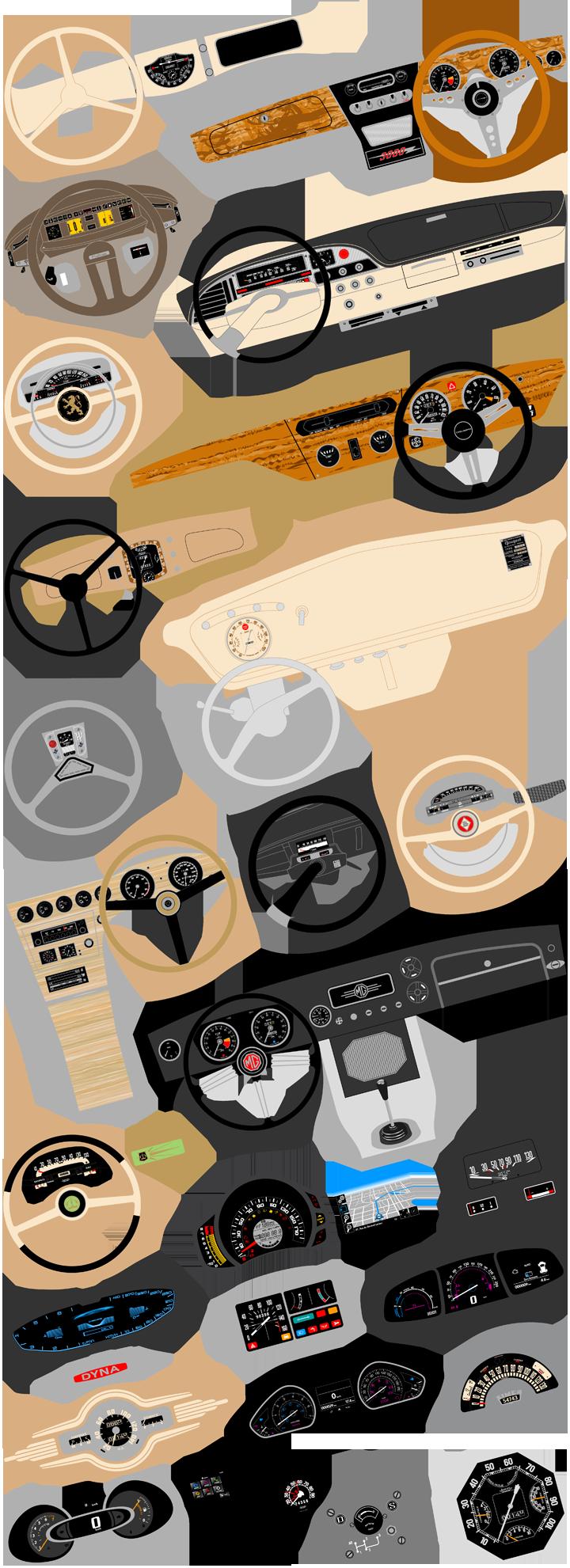 Artworks de tableaux de bord ou de planches de bord de véhicules. Cliquez pour afficher en HD