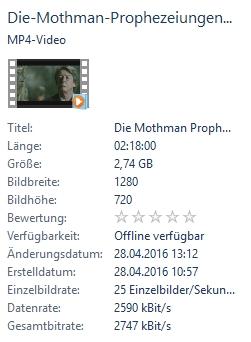 """Eine weitere Video-Datei, auch in HD-Qualität: mit etwa 2.700 kBit/s Bitrate und """"nur"""" 25 fps Framerate"""