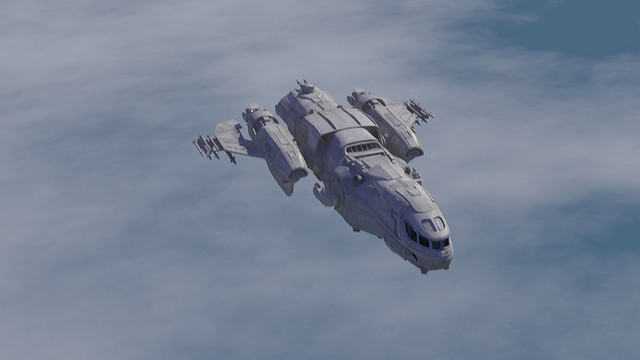 A starship flying over a cloud covered planet