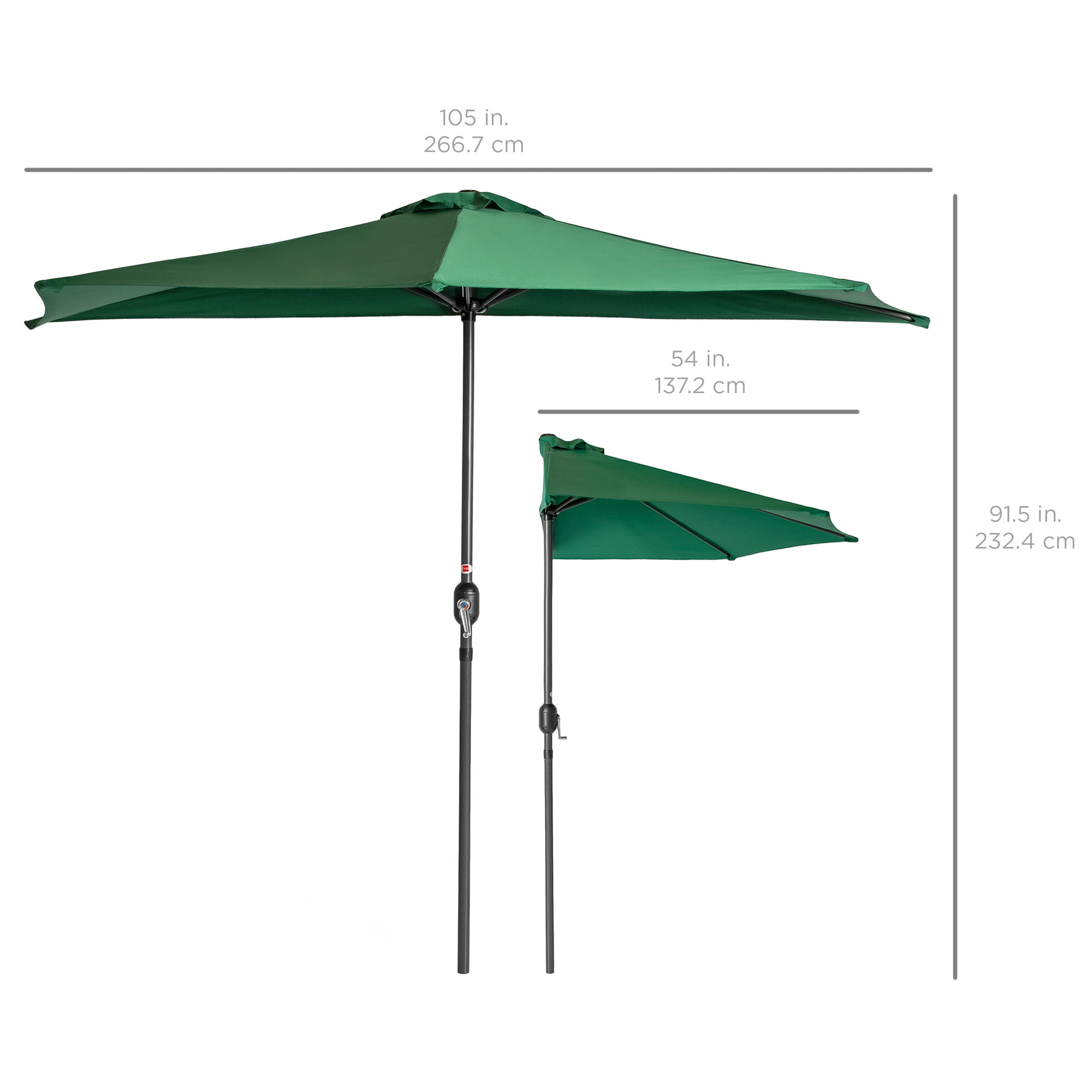 BCP-9ft-Half-Patio-Umbrella-w-Crank-Steel-Frame-UV-amp-Water-Resistant-Fabric thumbnail 24