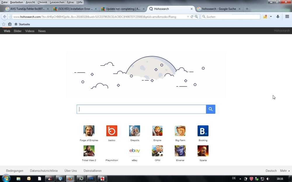 Der Browser bringt die angepasste Seite hohosearch.com, die aber ein unerwünschtes Programm ist.