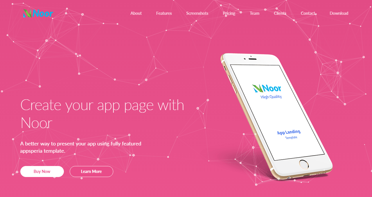 Noor – App Landing Page Particle Background Version