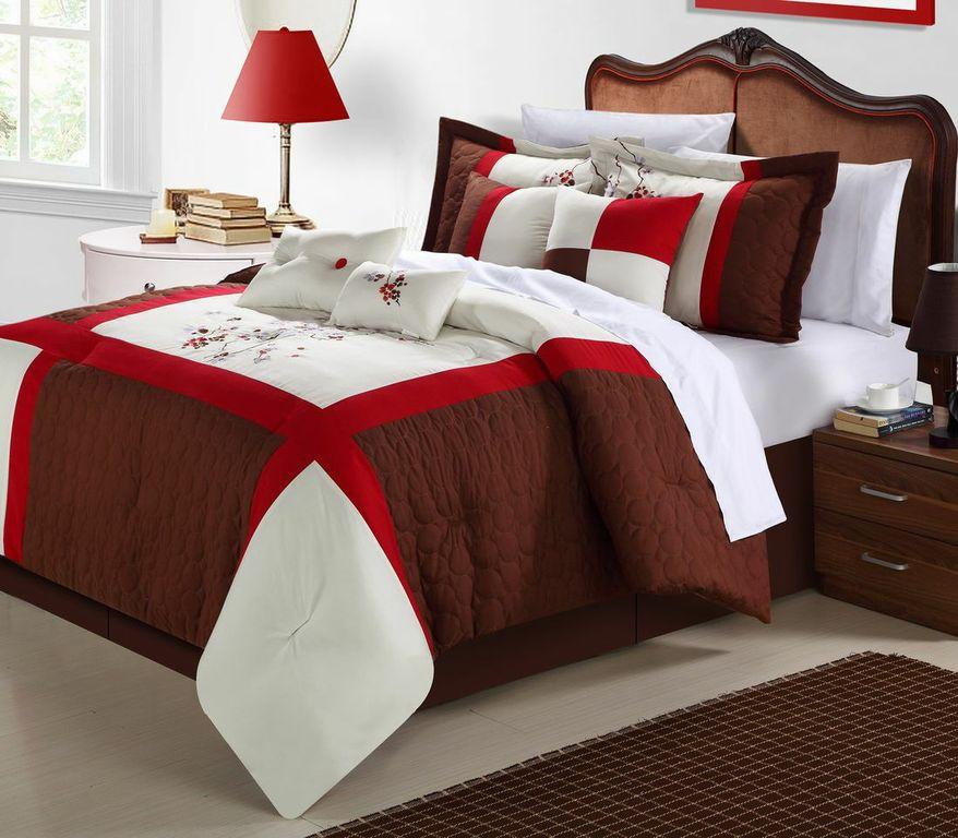 Chic Home York 12-Piece Comforter Set, Brown Queen