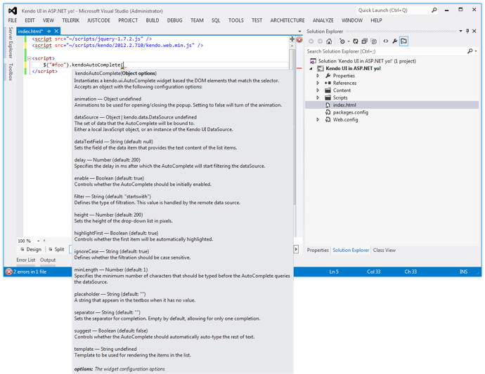 IntelliSense Support for Kendo UI Web in Visual Studio 2012