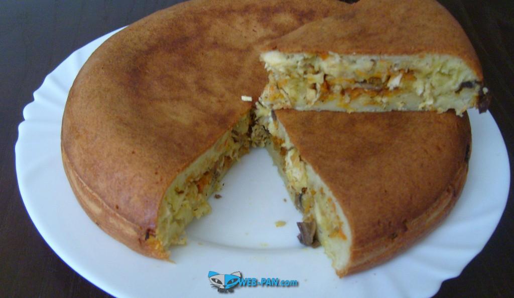 Пирог с капустой в мультиварке, и тесто своё сами сделали!