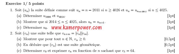 Epreuve concours ENS Yaounde Niveau BAC Analyse-Algèbre-Probabilités 2012 Mathématiques
