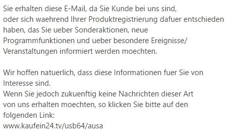 Abmelde-Link + Hinweis zum angeblichen Abo in einer SPAM-Mail