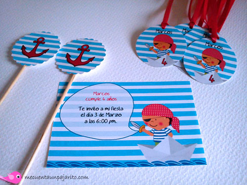 kit de fiesta de cumpleaños pirata, invitaciones, toppers, etiquetas