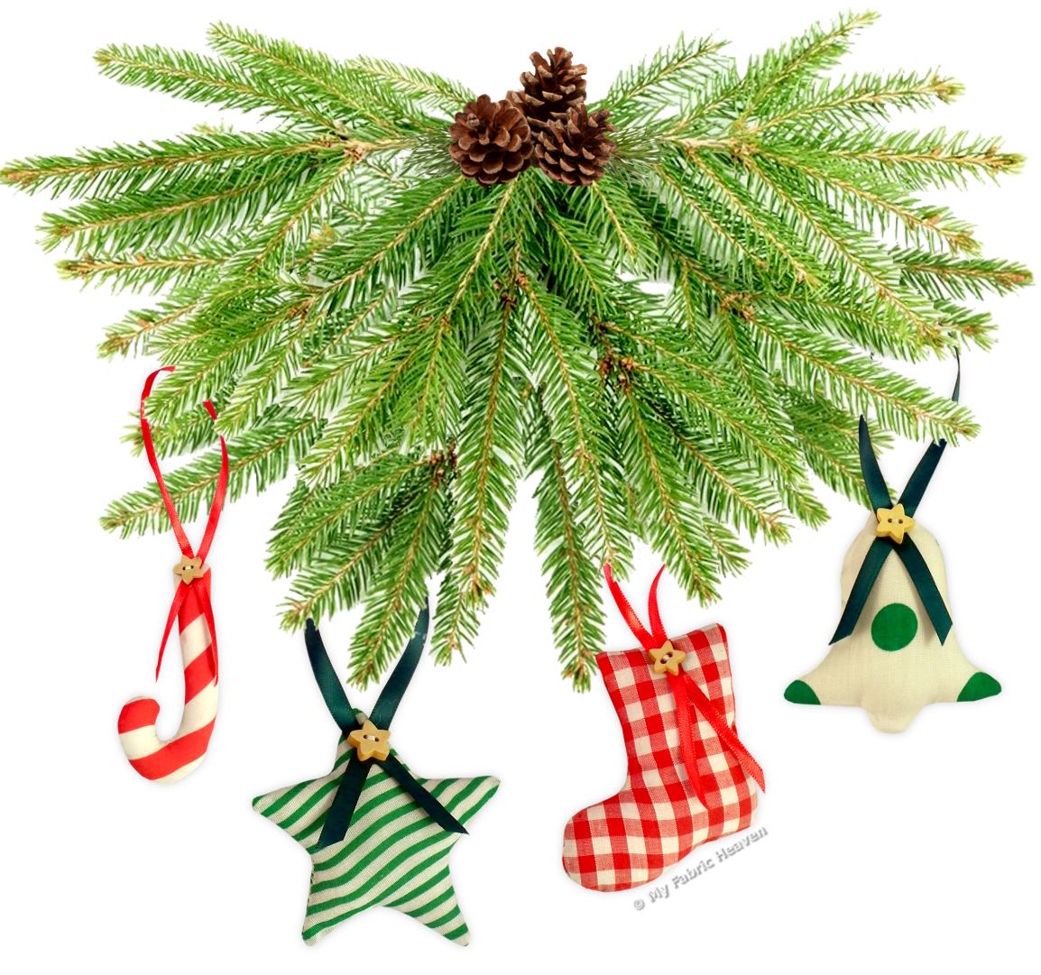 Very EASY Sewing PATTERN 6 Stuffed FABRIC ChristmasTree