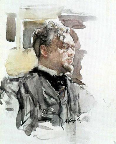 Serov, Retrato de S.S.Botkin, acuarela