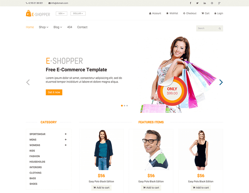 eShopper – Best Free Ecommerce HTML Template