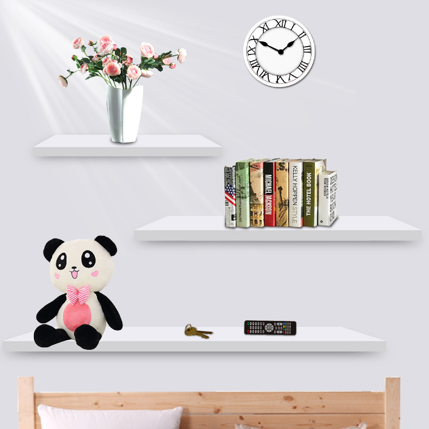 3pcs Wall Floating Shelf Set Bookshelf Shop Display White