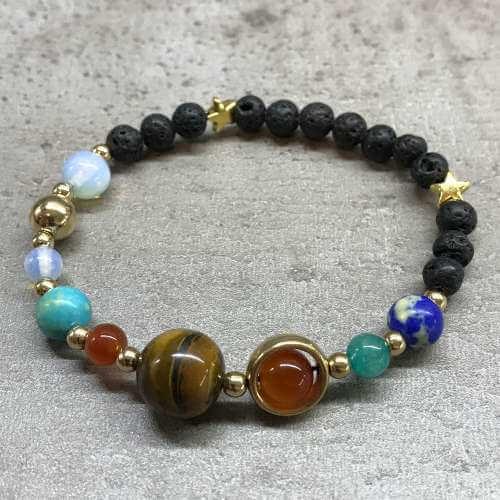 lava stone bracelet - gold solar system