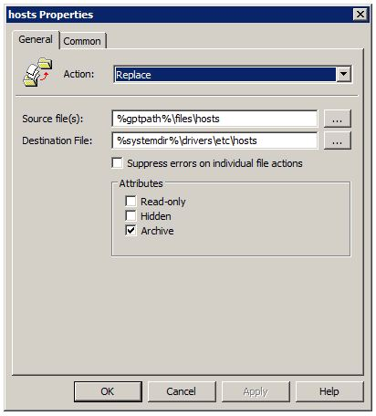 Group Policy Preferences: hosts