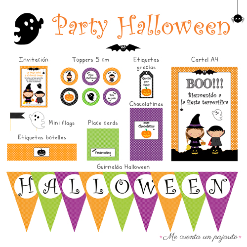 Kit party halloween personalizado, invitación, toppers, etiqueta gracias por venir, cartel bienvenida, mini flags, etiquetas botellas, place cards, chocolatinas y guirnalda