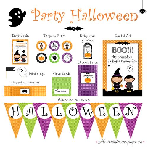 Kit party halloween personalizado, invitación, toppers, etiqueta gracias por venir, cartel bienvenida, mini flags, etiquetas botellas, place cards, chocolatinas y guirnalda